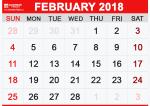 Calendar February 2018 Landscape